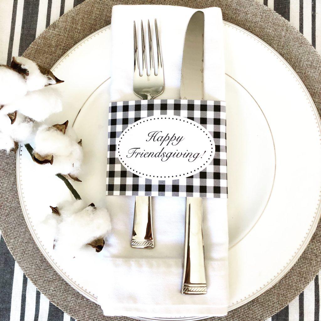 Buffalo Check Happy Friendsgiving Or Thanksgiving Napkin